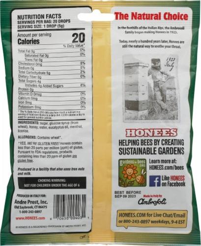 Honees® Honey Menthol Eucalyptus Drops Perspective: back