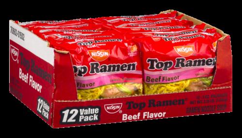Nissin Top Ramen Beef Flavor Noodle Soup Perspective: back