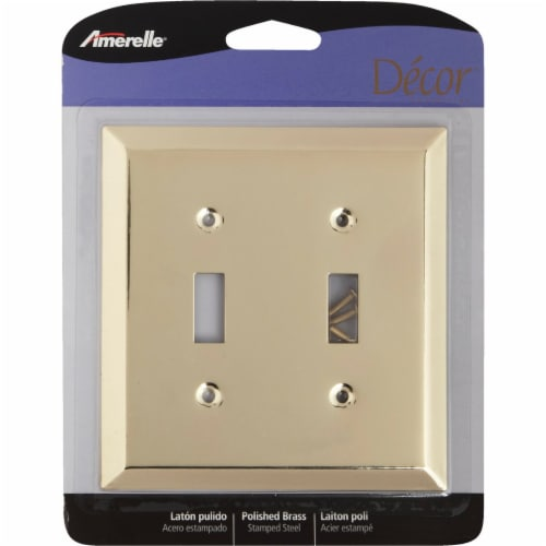 Amerelle® Double Toggle Switch Polished Brass Stamped Steel Wall Plate Perspective: back