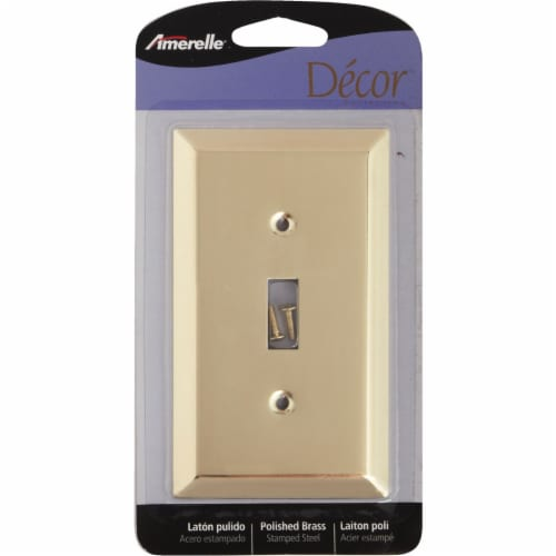 Amerelle 1-Gang Stamped Steel Toggle Switch Wall Plate, Polished Brass 163TBR Perspective: back