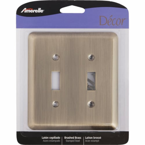 Amerelle 2-Gang Stamped Steel Toggle Switch Wall Plate, Brushed Brass 154TT Perspective: back