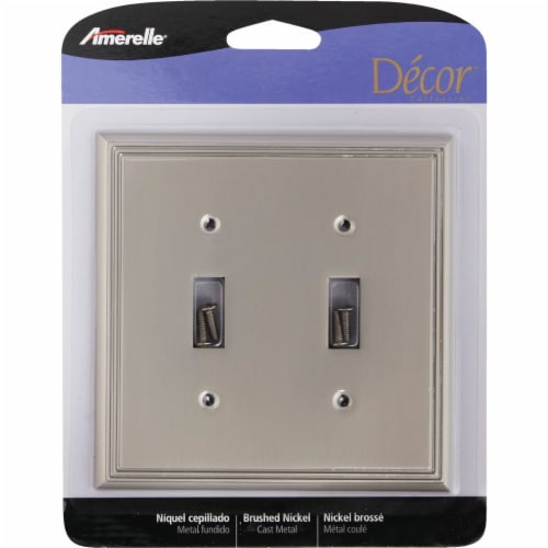 Amerelle Metro Line 2-Gang Cast Metal Toggle Switch Wall Plate, Brushed Nickel Perspective: back