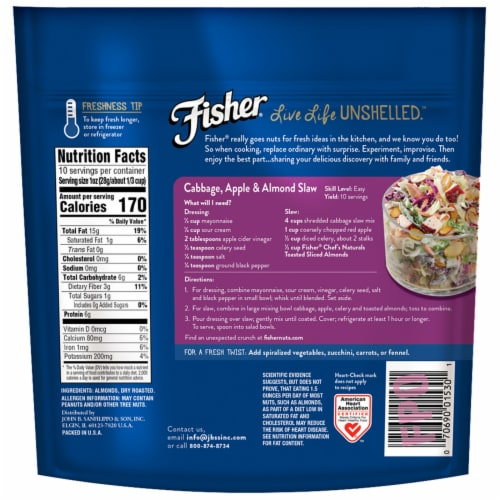 Fisher Chef's Naturals Toasted Sliced Almonds Perspective: back