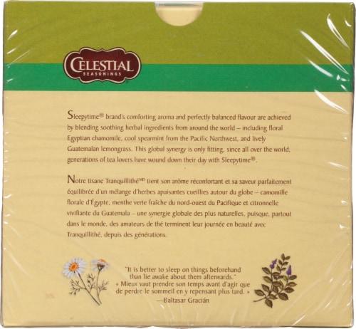 Sleepytime Celestial Seasonings Caffeine Free Herbal Tea Perspective: back