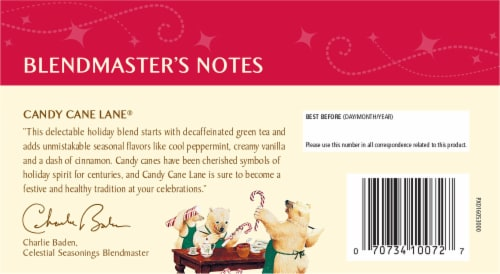 Celestial Seasonings Candy Cane Lane Decaf Green Holiday Tea Bags Perspective: back