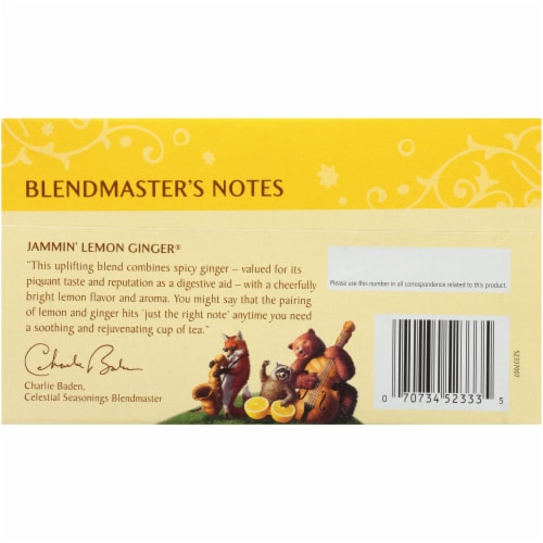 Celestial Seasonings® Jammin' Lemon Ginger Tea Perspective: back