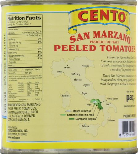 Cento San Marzano Certified Peeled Tomatoes Perspective: back