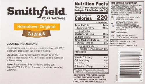 Smithfield Gluten Free Hometown Original Skinless Pork Sausage Links Perspective: back