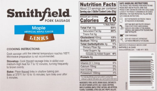 Smithfield Gluten Free Maple Skinless Pork Sausage Links Perspective: back