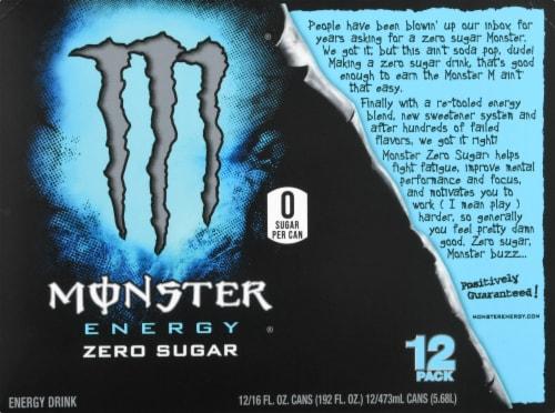 Monster Zero Sugar Energy Drink Perspective: back