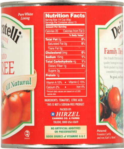 Dei Fratelli Tomato Puree Perspective: back