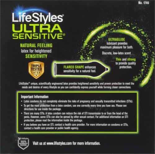 LifeStyles Ultra Sensitive Lubricated Condoms Perspective: back