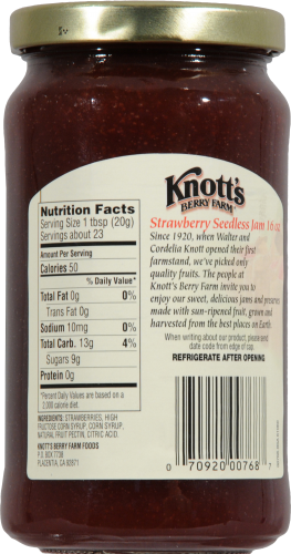 Knott's Berry Farm Pure Seedless Strawberry Jam Perspective: back