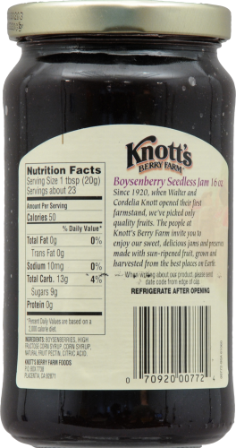 Knott's Berry Farm Pure Seedless Boysenberry Jam Perspective: back