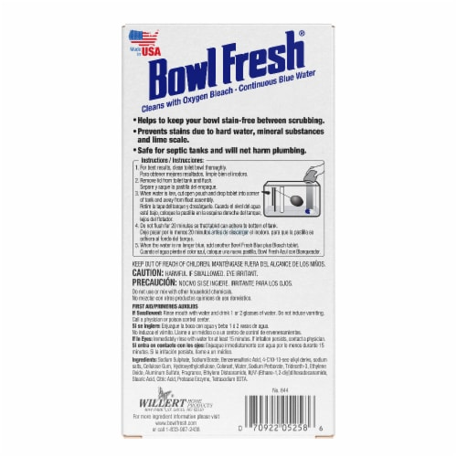 Bowl Fresh Blue Plus Bleach Automatic Bowl Cleaner Tablets Perspective: back