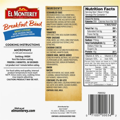 El Monterey Meat Lovers' Breakfast Bowl Frozen Meal Perspective: back