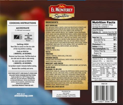 El Monterey Signature Entree Beef Enchiladas Perspective: back