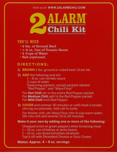 Wick Fowler's® Texas Style 2 Alarm® Chili Kit Perspective: back