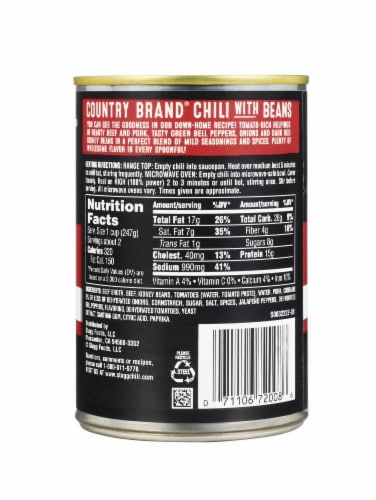 Stagg Chili Country Brand Mild Chili with Beans Perspective: back