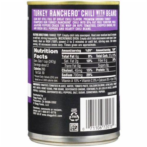 Stagg Chili® Turkey Ranchero Chili with Beans Perspective: back