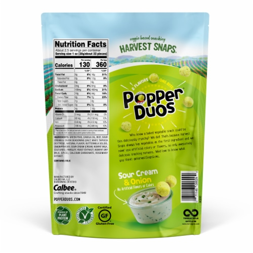 Harvest Snaps Popper Duos Sour Cream & Onion Green Pea Crisps Perspective: back
