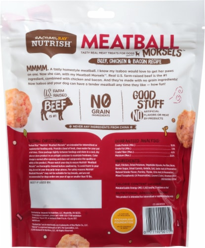 Rachael Ray Nutrish Meatball Morsels Beef Chicken & Bacon Dog Treats Perspective: back
