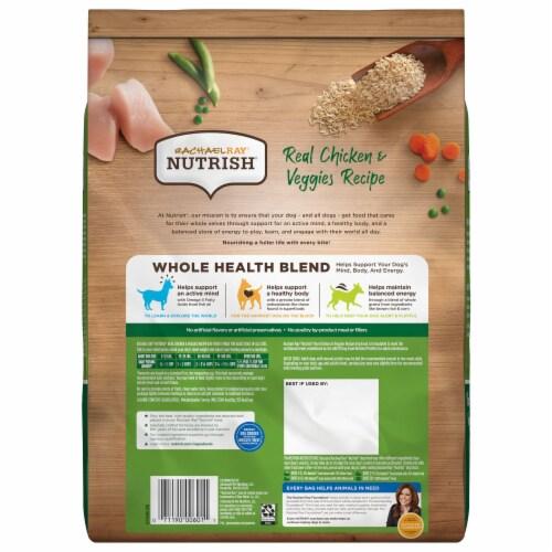 Rachael Ray Nutrish Real Chicken & Veggies Recipe Dry Dog Food Perspective: back