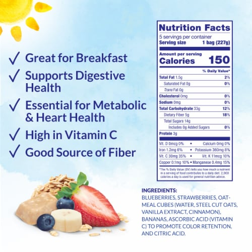 Dole® Crafted Smoothie Blends® Mixed Berry Oatmeal Smoothie Mix Perspective: back