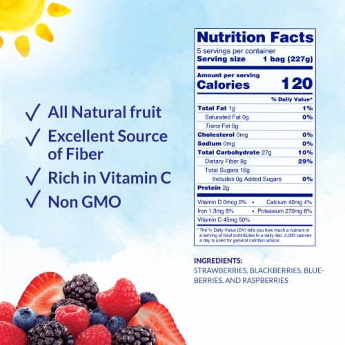 Dole® Mixed Berries Pre-Portioned Frozen Fruit Bags Perspective: back