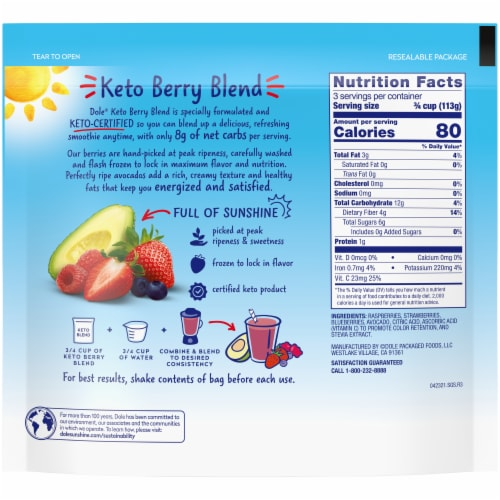 Dole Keto Berry Blend Frozen Smoothie Mix Perspective: back