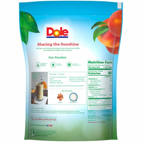 Dole® Sliced Peaches Frozen Fruit Perspective: back
