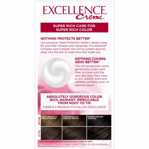 L'Oreal Excellence Creme 3 Natural Black Hair Color Kit Perspective: back