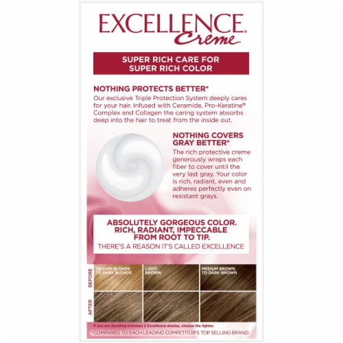 L'Oreal Paris Excellence Creme 6 Light Brown Triple Protection Permanent Hair Color Kit Perspective: back
