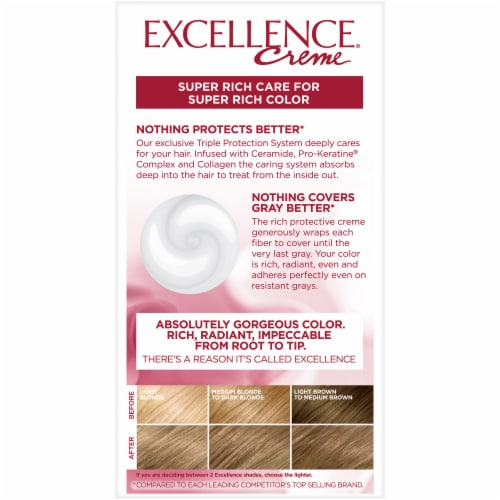 L'Oreal Paris Excellence Creme 7 Dark Blonde Triple Protection Permanent Hair Color Kit Perspective: back