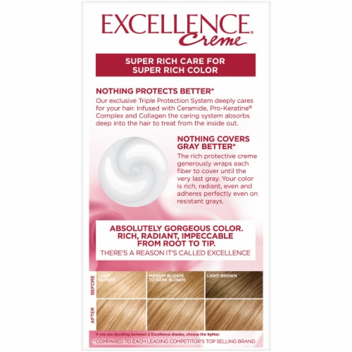 L'Oreal Paris Excellence Creme 8G Medium Golden Blonde Triple Protection Permanent Hair Color Kit Perspective: back