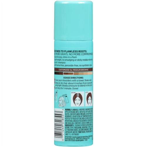 L'Oreal Paris Magic Root Cover Up Medium Brown Temporary Gray Concealer Spray Perspective: back