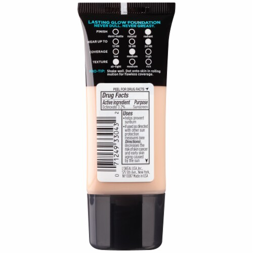 L'Oreal Paris Infallible Pro-Glow 202 Creamy Natural Octinoxate Sunscreen Broad Spectrum SPF 15 Perspective: back