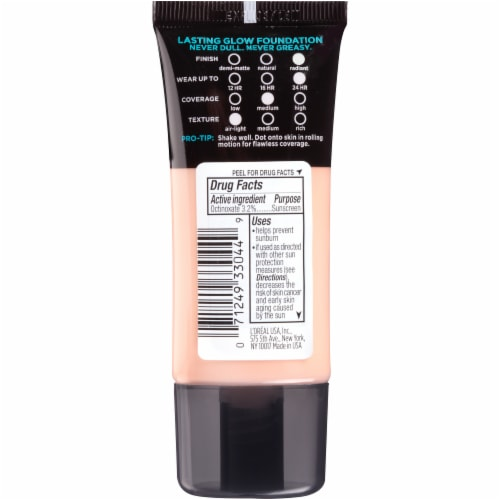 L'Oreal Paris Infallible Pro-Glow Foundation SPF 15 - 201 Classic Ivory Perspective: back