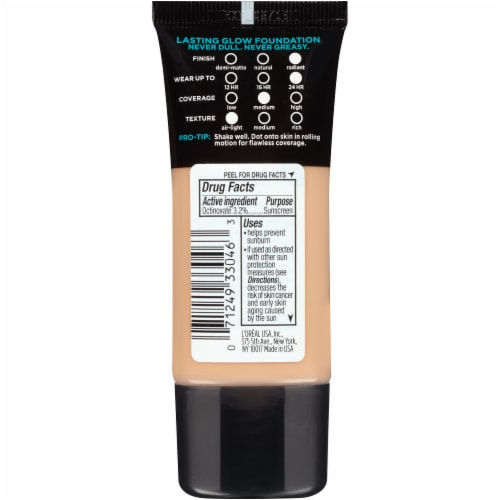 L'Oreal Paris Infallible Pro-Glow 205 Natural Beige Foundation SPF 15 Perspective: back