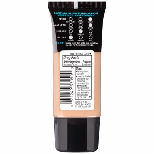 L'Oreal Paris Infallible Pro Glow 208 Sun Beige Foundation Perspective: back
