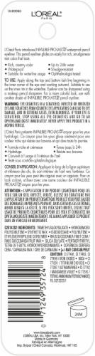 L'Oreal Paris Infallible Pro-Last 930 Black Waterproof Pencil Eyeliner Perspective: back