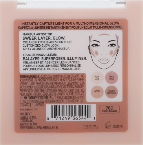 L'Oreal Paris True Match Lumi Glow Nude Highlighter Palette 760 Moonkissed Perspective: back