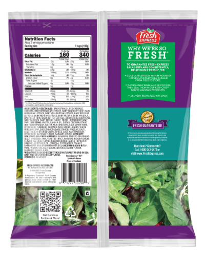 Fresh Express Spinach & Bacon Salad Kit Perspective: back