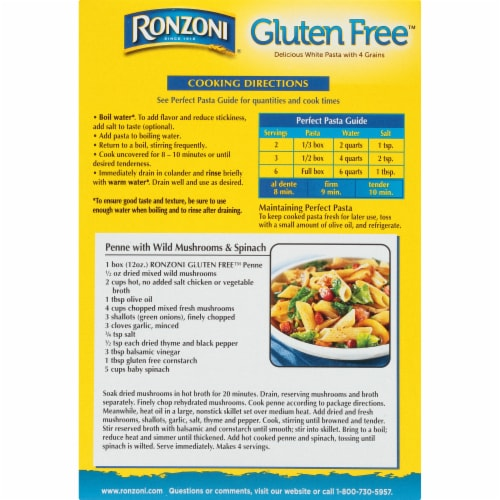 Ronzoni Gluten Free Penne Rigate Pasta Perspective: back