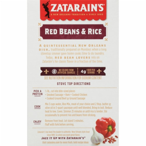 Zatarain's Red Beans & Rice Dinner Mix Perspective: back
