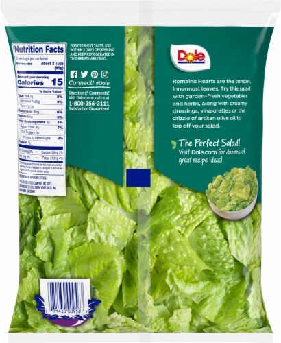 Dole Hearts of Romaine Salad Greens Perspective: back
