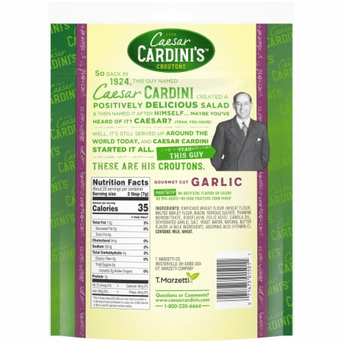 Cardini's Gourmet Cut Garlic Croutons Perspective: back