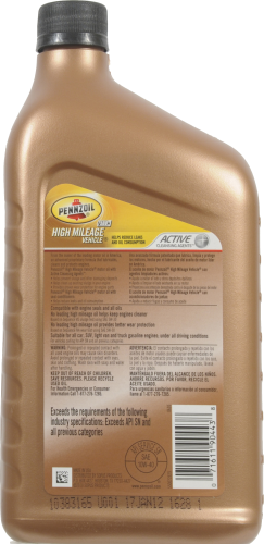 Pennzoil 10W-40 SAE High Mileage Vehicle Motor Oil Perspective: back