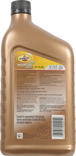 Pennzoil 5W-30 SAE High Mileage Vehicle Motor Oil Perspective: back