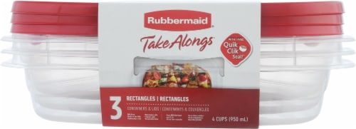 Rubbermaid TakeAlongs Rectangle Food Storage Containers - 3 Pack - Clear/Red Perspective: back